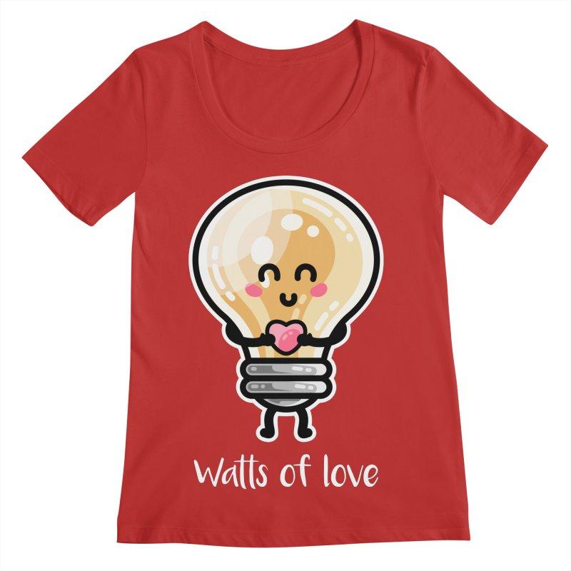Cute Watts Of Love Pun Women's Regular Scoop Neck by Flaming Imp's Artist Shop