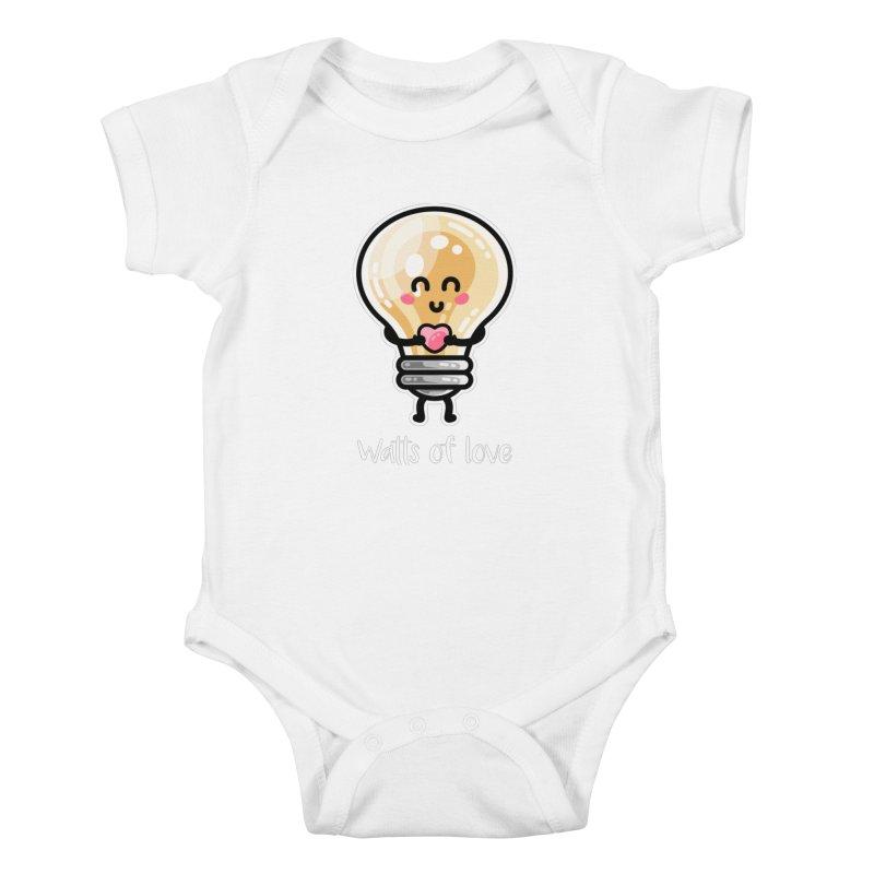 Cute Watts Of Love Pun Kids Baby Bodysuit by Flaming Imp's Artist Shop