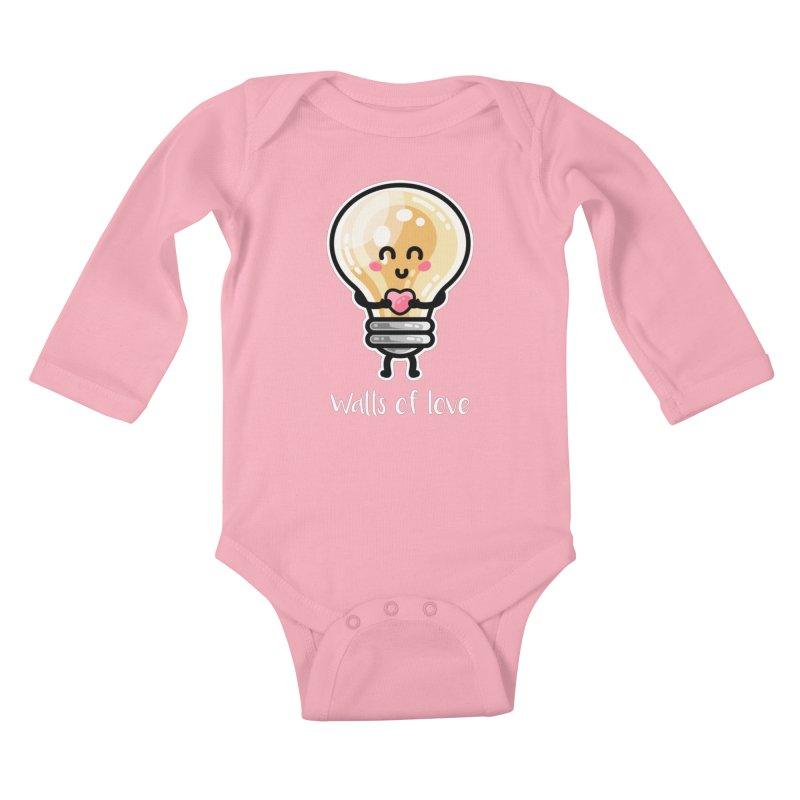Cute Watts Of Love Pun Kids Baby Longsleeve Bodysuit by Flaming Imp's Artist Shop