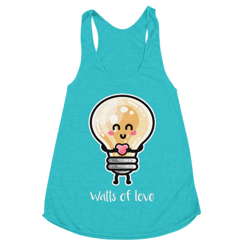Cute Watts Of Love Pun Women's Racerback Triblend Tank by Flaming Imp's Artist Shop