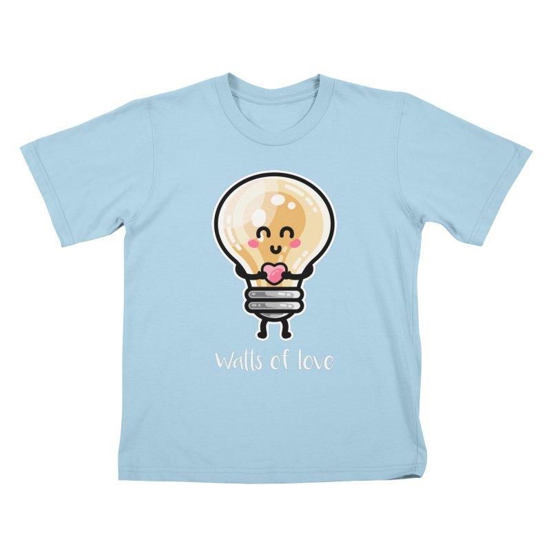 Cute Watts Of Love Pun Kids T-Shirt by Flaming Imp's Artist Shop
