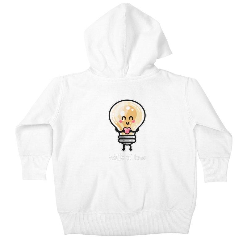 Cute Watts Of Love Pun Kids Baby Zip-Up Hoody by Flaming Imp's Artist Shop