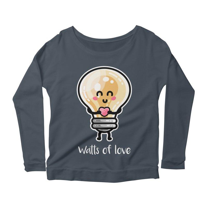 Cute Watts Of Love Pun Women's Scoop Neck Longsleeve T-Shirt by Flaming Imp's Artist Shop
