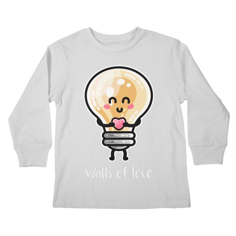 Cute Watts Of Love Pun Kids Longsleeve T-Shirt by Flaming Imp's Artist Shop