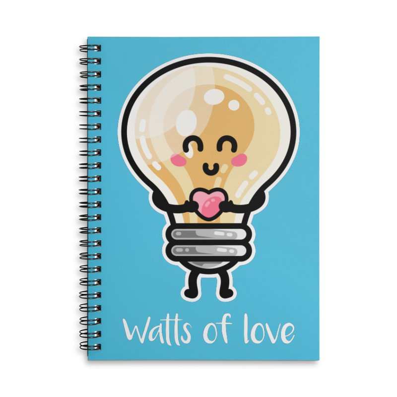 Cute Watts Of Love Pun Accessories Lined Spiral Notebook by Flaming Imp's Artist Shop
