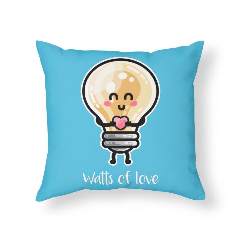 Cute Watts Of Love Pun Home Throw Pillow by Flaming Imp's Artist Shop