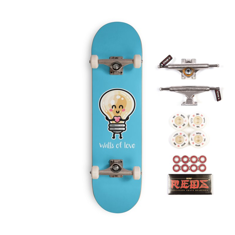 Cute Watts Of Love Pun Accessories Complete - Pro Skateboard by Flaming Imp's Artist Shop