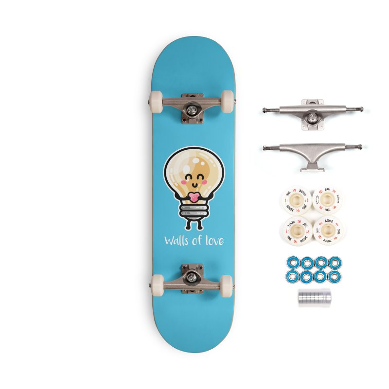 Cute Watts Of Love Pun Accessories Skateboard by Flaming Imp's Artist Shop