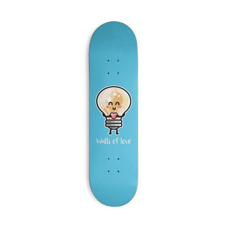 Cute Watts Of Love Pun Accessories Skateboard by Flaming Imp's Artist Shop