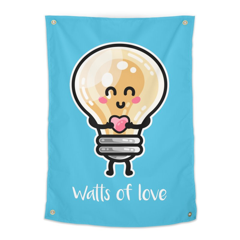 Cute Watts Of Love Pun Home Tapestry by Flaming Imp's Artist Shop