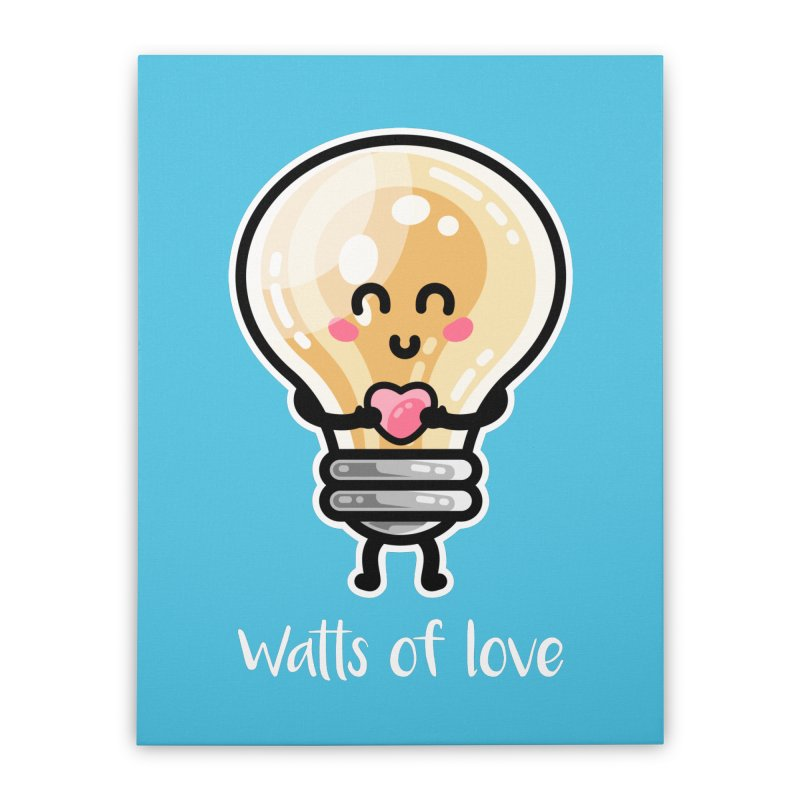Cute Watts Of Love Pun Home Stretched Canvas by Flaming Imp's Artist Shop