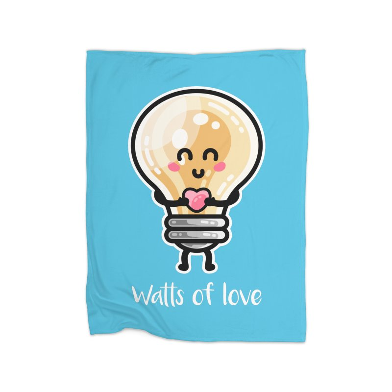 Cute Watts Of Love Pun Home Fleece Blanket Blanket by Flaming Imp's Artist Shop