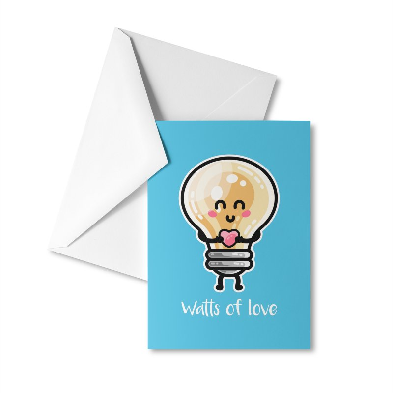 Cute Watts Of Love Pun Masks + Accessories Greeting Card by Flaming Imp's Artist Shop