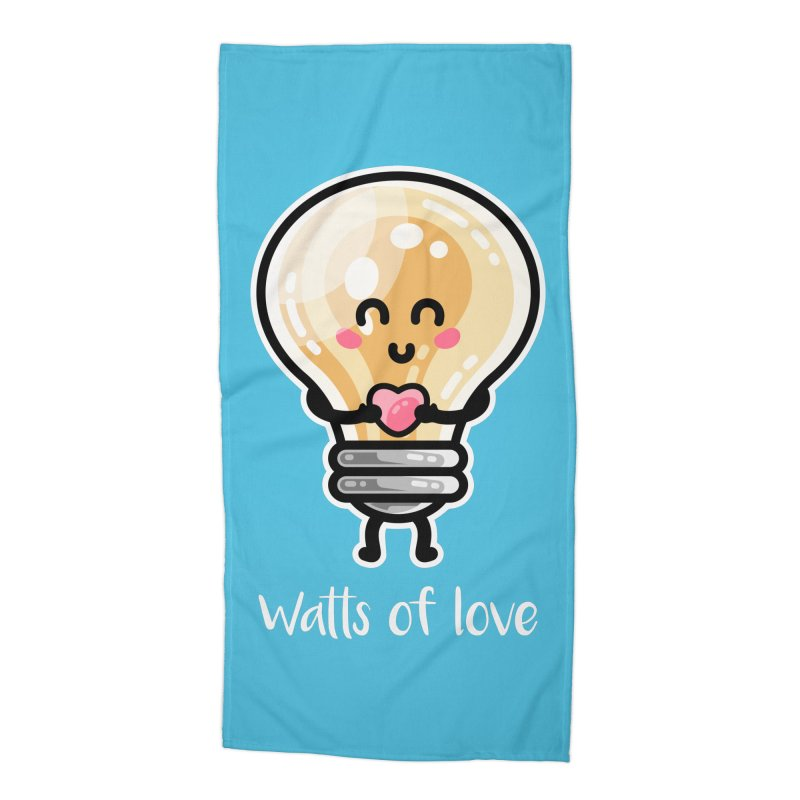 Cute Watts Of Love Pun Accessories Beach Towel by Flaming Imp's Artist Shop