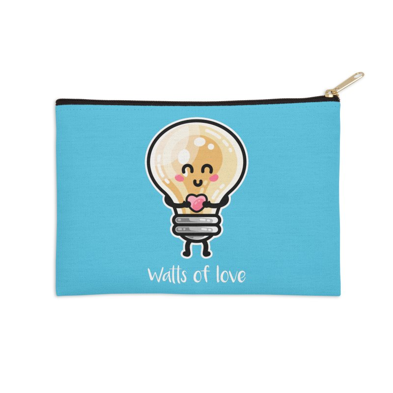 Cute Watts Of Love Pun Accessories Zip Pouch by Flaming Imp's Artist Shop