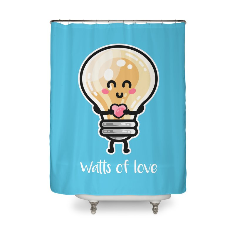 Cute Watts Of Love Pun Home Shower Curtain by Flaming Imp's Artist Shop