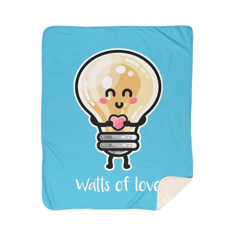 Cute Watts Of Love Pun Home Sherpa Blanket Blanket by Flaming Imp's Artist Shop