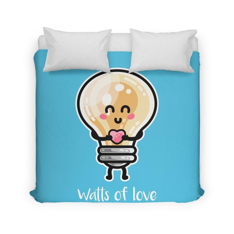 Cute Watts Of Love Pun Home Duvet by Flaming Imp's Artist Shop