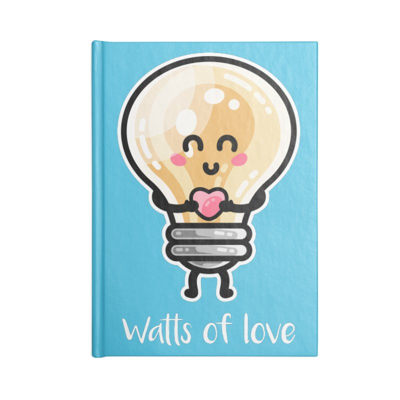 Cute Watts Of Love Pun Accessories Blank Journal Notebook by Flaming Imp's Artist Shop