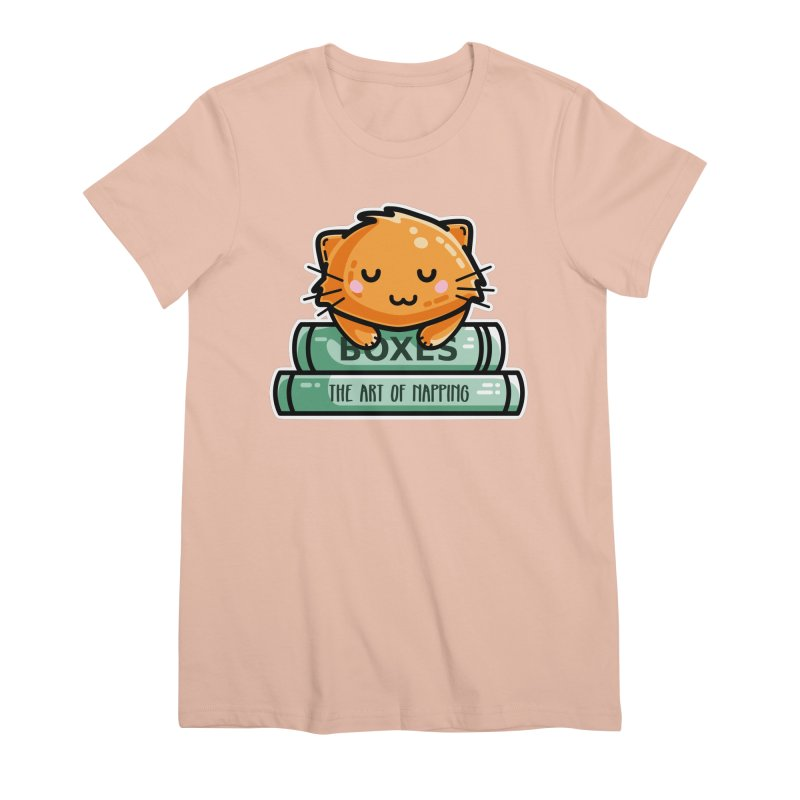 Cute Ginger Cat With Books Women's Premium T-Shirt by Flaming Imp's Artist Shop