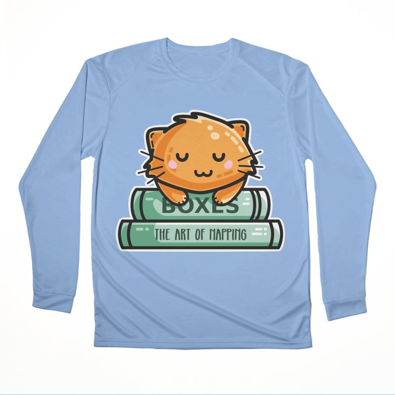 Cute Ginger Cat With Books Men's Performance Longsleeve T-Shirt by Flaming Imp's Artist Shop