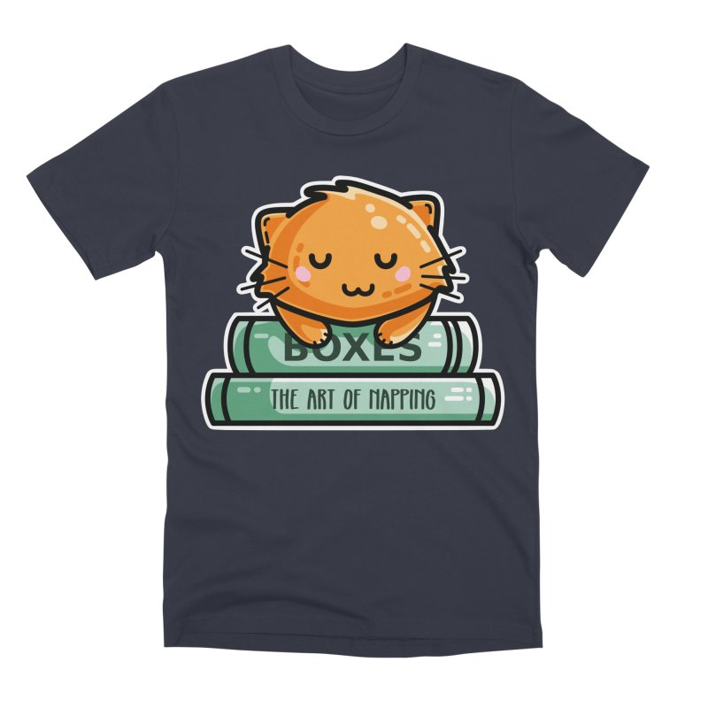 Cute Ginger Cat With Books Men's Premium T-Shirt by Flaming Imp's Artist Shop