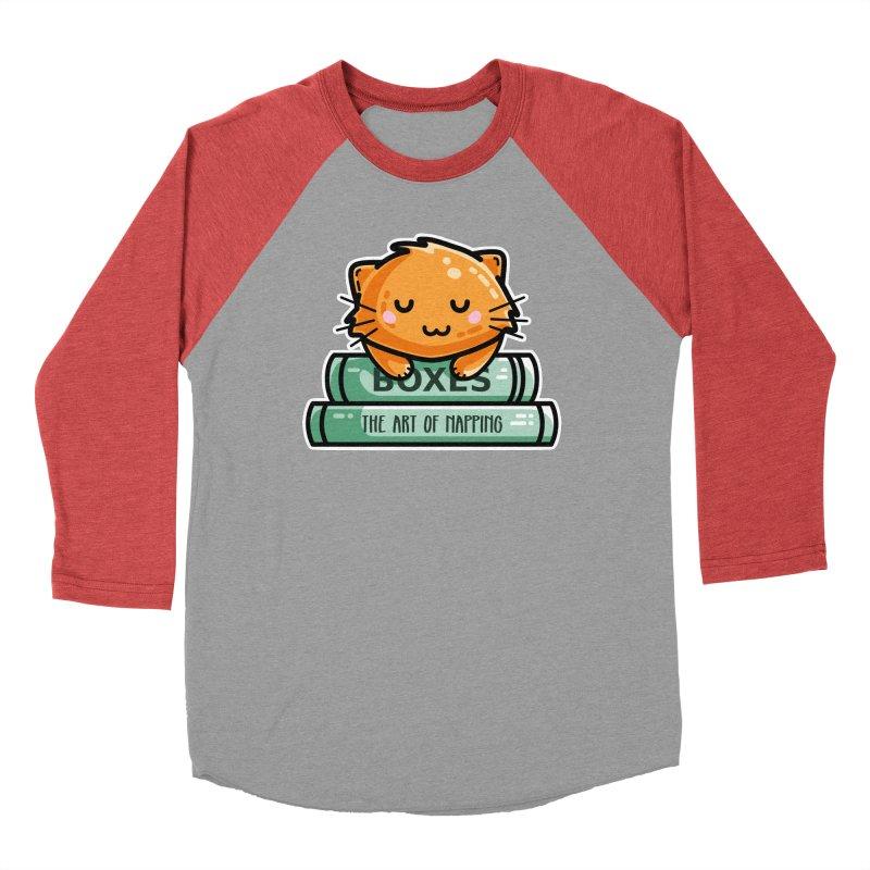 Cute Ginger Cat With Books Women's Baseball Triblend Longsleeve T-Shirt by Flaming Imp's Artist Shop