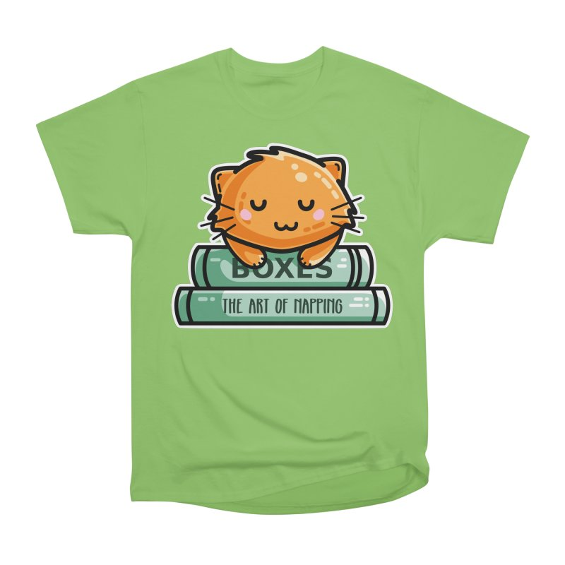 Cute Ginger Cat With Books Men's Heavyweight T-Shirt by Flaming Imp's Artist Shop