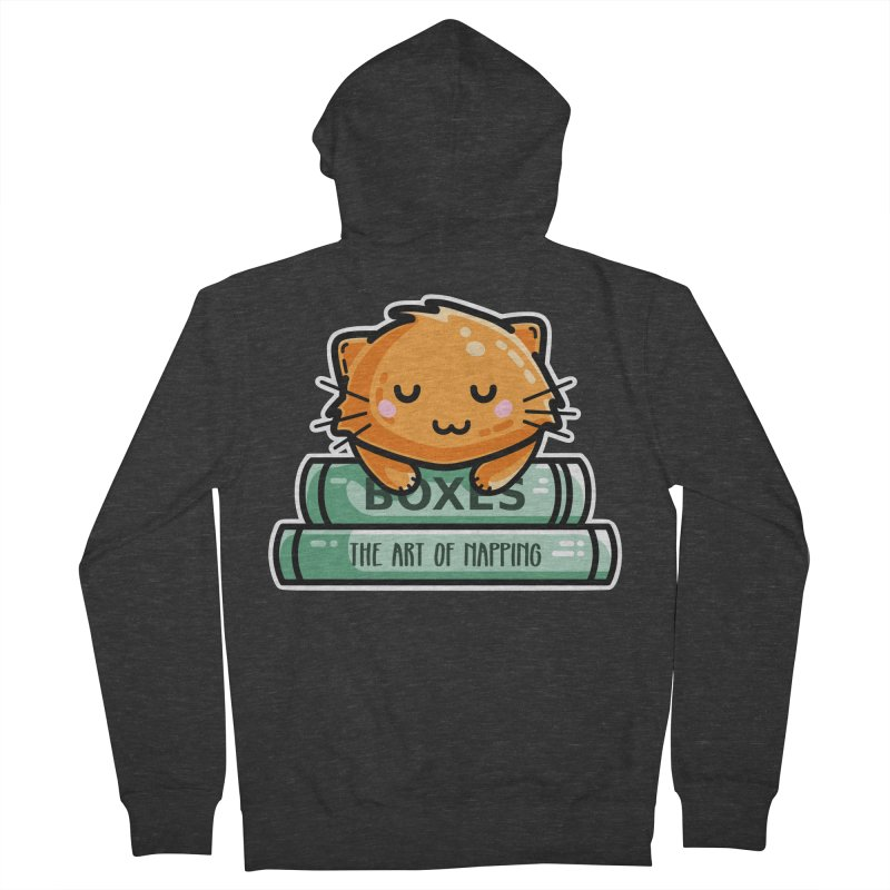 Cute Ginger Cat With Books Men's French Terry Zip-Up Hoody by Flaming Imp's Artist Shop