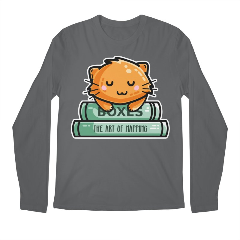 Cute Ginger Cat With Books Men's Longsleeve T-Shirt by Flaming Imp's Artist Shop