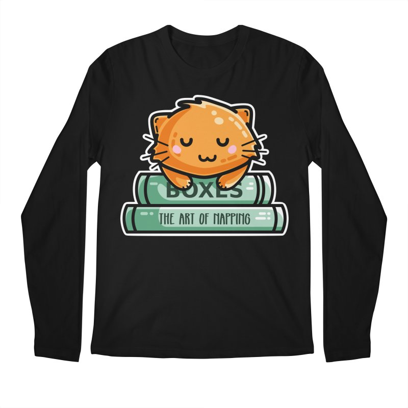 Cute Ginger Cat With Books Men's Regular Longsleeve T-Shirt by Flaming Imp's Artist Shop