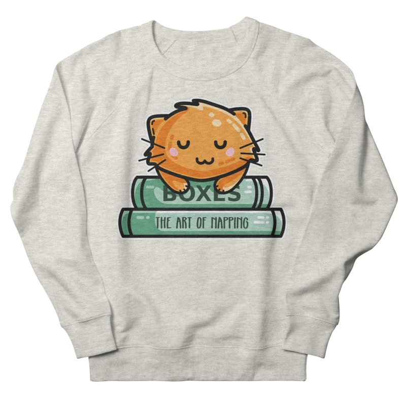 Cute Ginger Cat With Books Women's French Terry Sweatshirt by Flaming Imp's Artist Shop