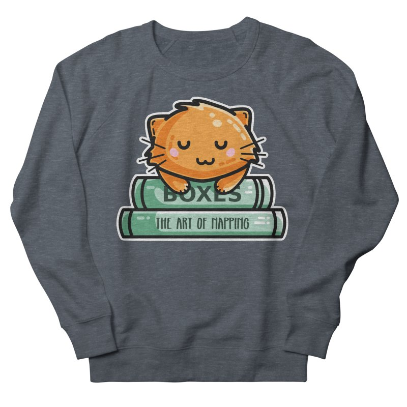 Cute Ginger Cat With Books Men's French Terry Sweatshirt by Flaming Imp's Artist Shop