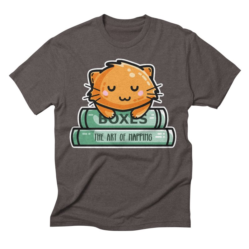 Cute Ginger Cat With Books Men's Triblend T-Shirt by Flaming Imp's Artist Shop