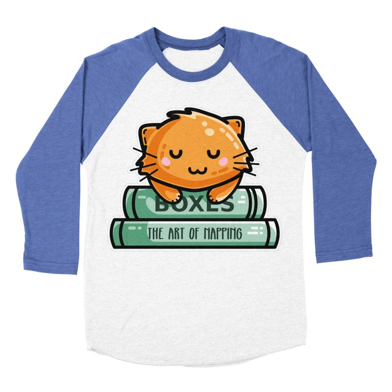 Cute Ginger Cat With Books Women's Baseball Triblend Longsleeve T-Shirt by Flaming Imp's Artist Shop