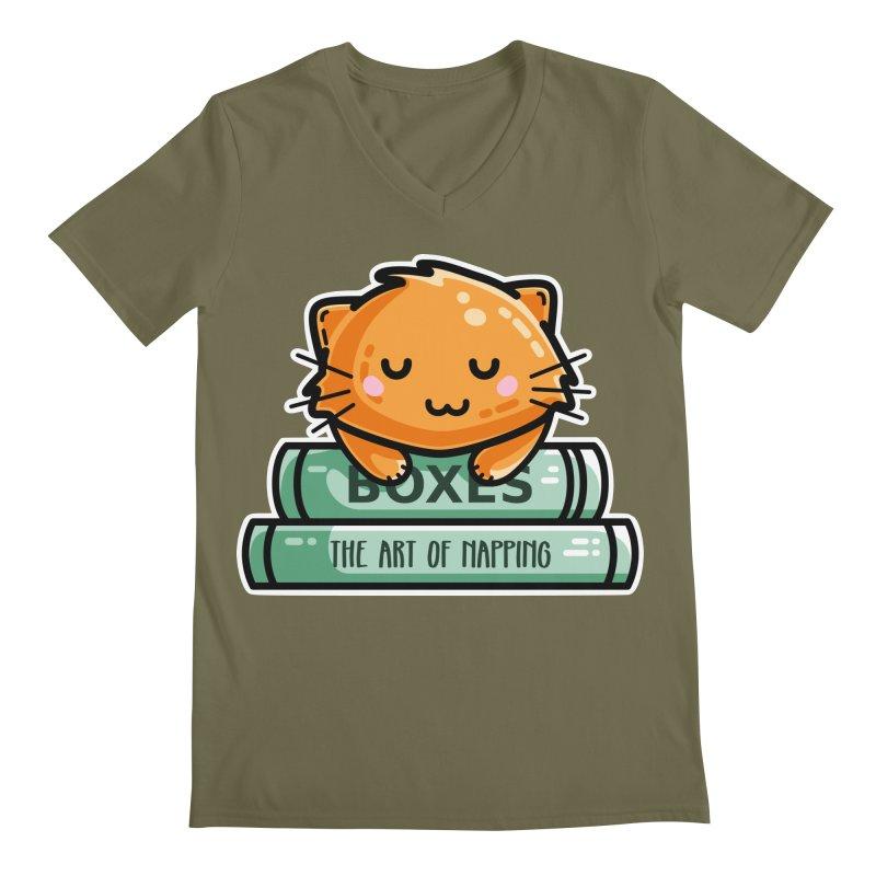 Cute Ginger Cat With Books Men's Regular V-Neck by Flaming Imp's Artist Shop