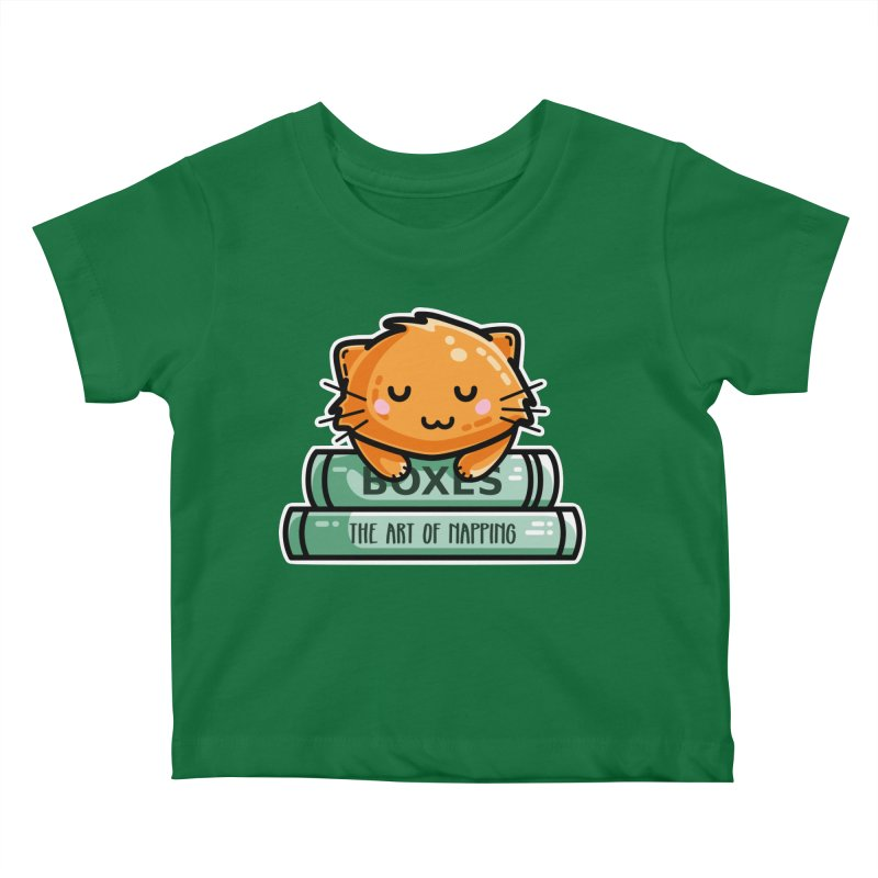 Cute Ginger Cat With Books Kids Baby T-Shirt by Flaming Imp's Artist Shop