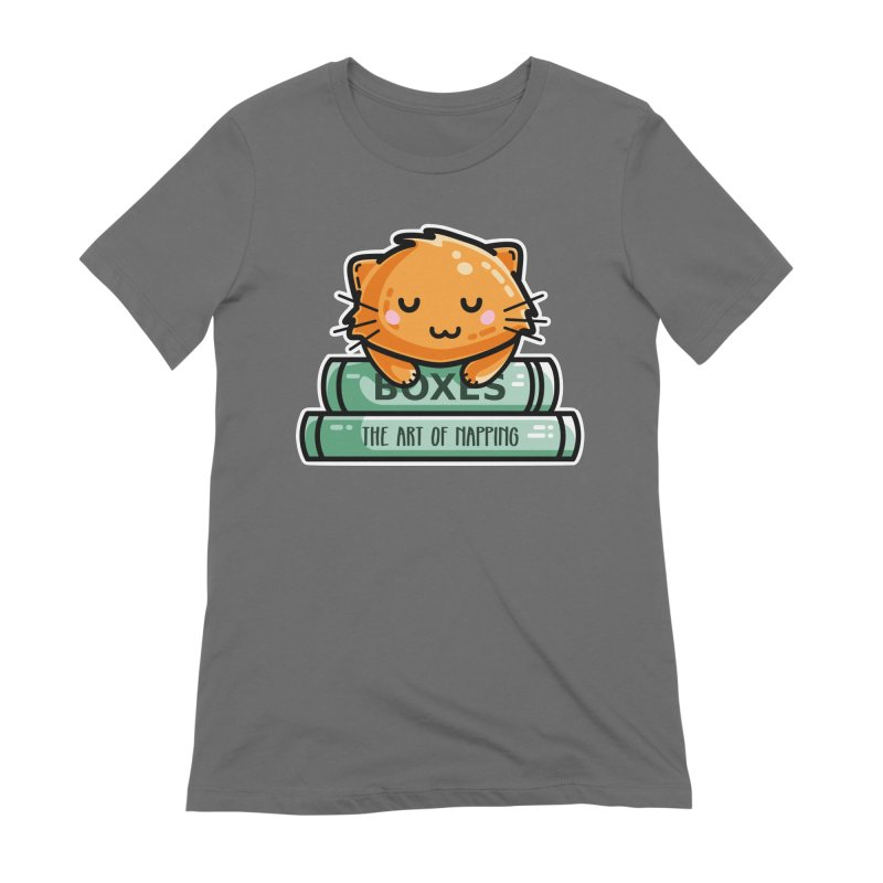 Cute Ginger Cat With Books Fitted T-Shirt by Flaming Imp's Artist Shop