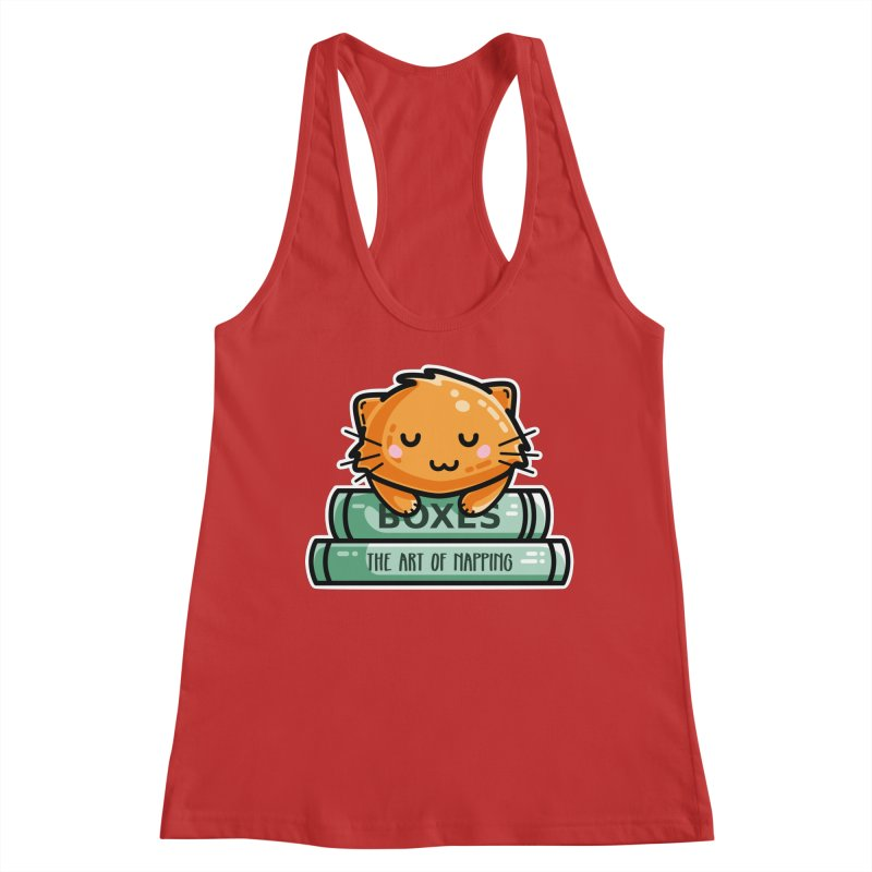 Cute Ginger Cat With Books Women's Tank by Flaming Imp's Artist Shop