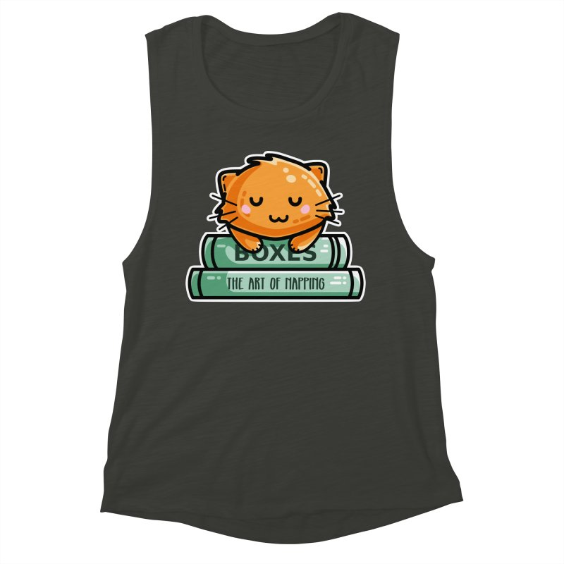 Cute Ginger Cat With Books Women's Muscle Tank by Flaming Imp's Artist Shop
