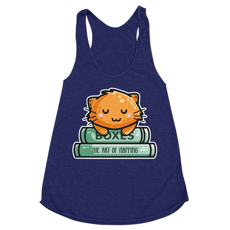 Cute Ginger Cat With Books Women's Racerback Triblend Tank by Flaming Imp's Artist Shop
