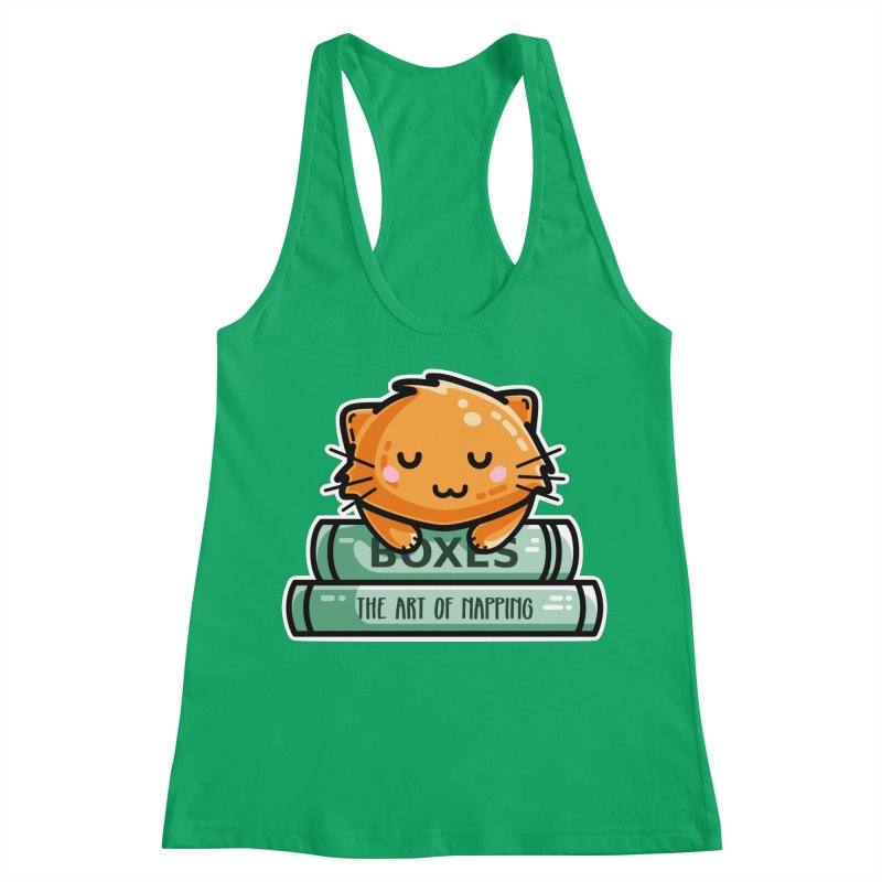Cute Ginger Cat With Books Women's Racerback Tank by Flaming Imp's Artist Shop