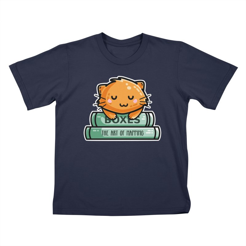 Cute Ginger Cat With Books Kids T-Shirt by Flaming Imp's Artist Shop