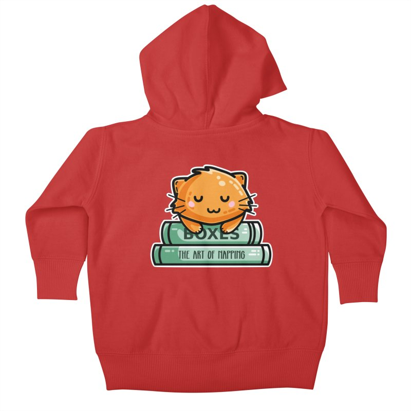 Cute Ginger Cat With Books Kids Baby Zip-Up Hoody by Flaming Imp's Artist Shop