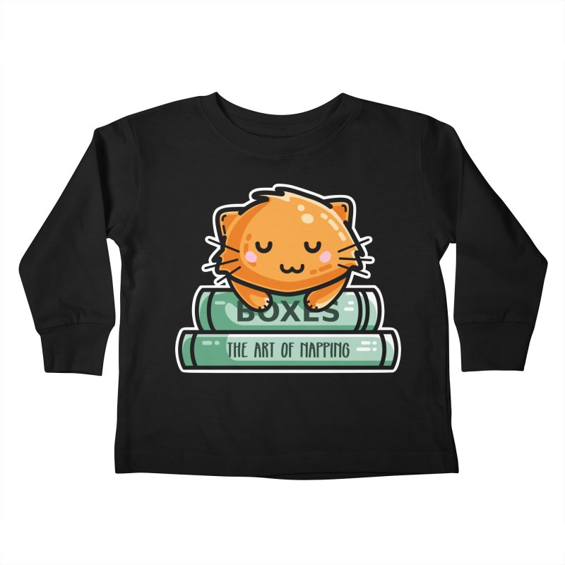 Cute Ginger Cat With Books Kids Toddler Longsleeve T-Shirt by Flaming Imp's Artist Shop