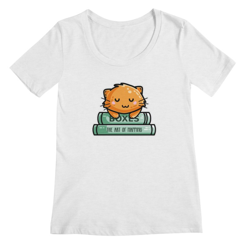Cute Ginger Cat With Books Women's Regular Scoop Neck by Flaming Imp's Artist Shop