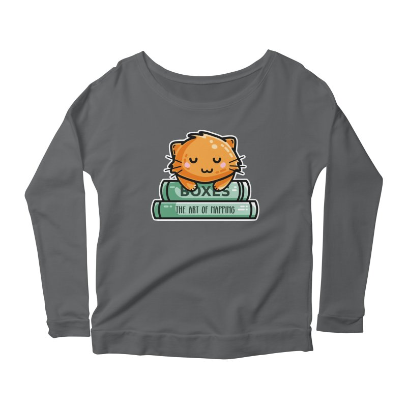 Cute Ginger Cat With Books Women's Scoop Neck Longsleeve T-Shirt by Flaming Imp's Artist Shop