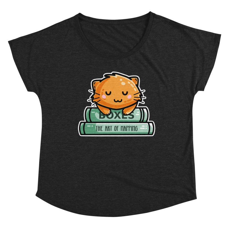 Cute Ginger Cat With Books Women's Dolman Scoop Neck by Flaming Imp's Artist Shop