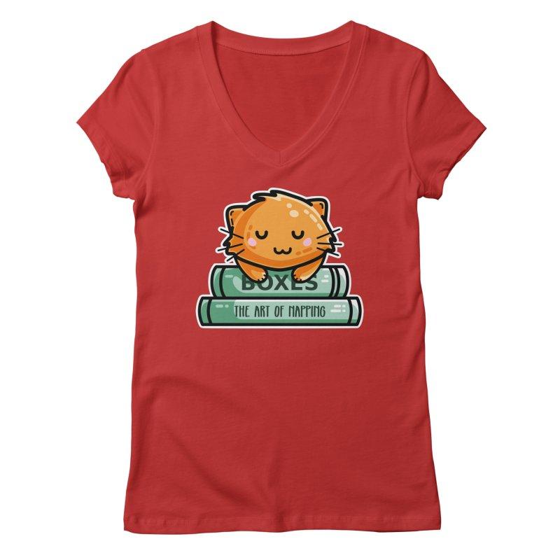 Cute Ginger Cat With Books Women's Regular V-Neck by Flaming Imp's Artist Shop