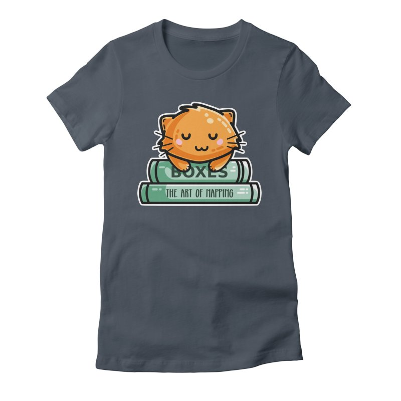 Cute Ginger Cat With Books Women's T-Shirt by Flaming Imp's Artist Shop